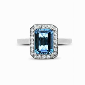 Aquamarine & Diamond Cluster Ring - 1.00ct